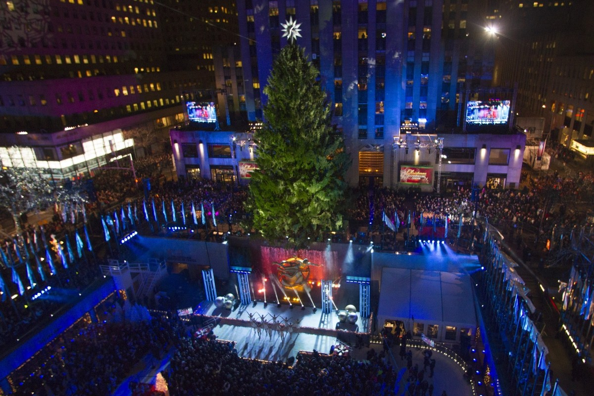 The tree is seen during the 81st Annual Rockefeller Center Christmas Tree Lighting Ceremony in New & Watch 2014 Rockefeller Center Christmas Tree Lighting: Live ...