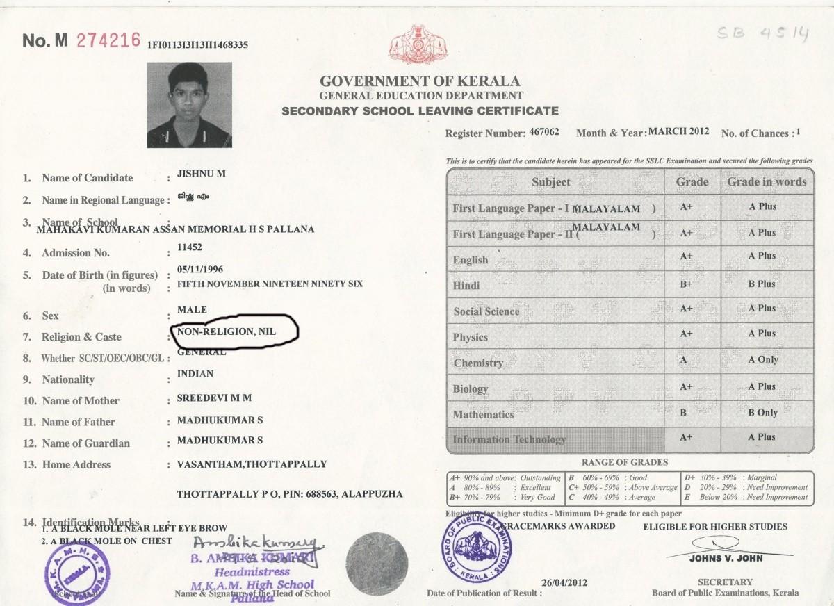 Jishnu M Kumar SSLC mark list