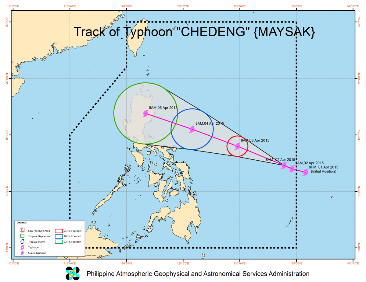 A graph showing the course of the super typhoon Maysak,which now is called Chedeng in Philippines
