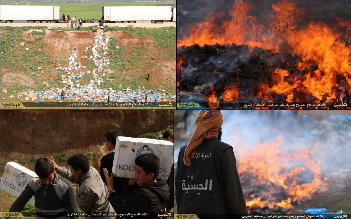 Isis Hisba police seized two trucks full of chicken and destroyed them.