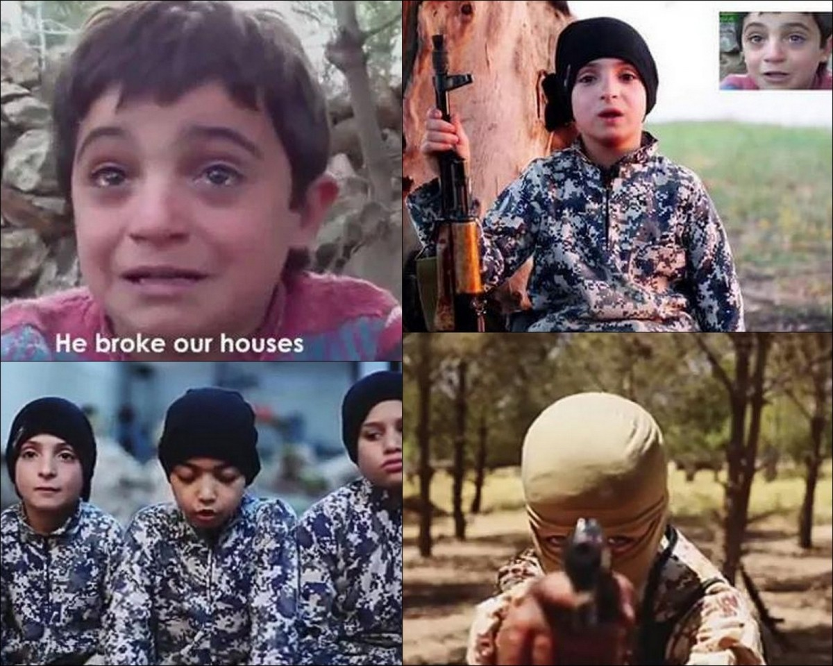 A boy who previously in a video interviewed has blamed Assad for destroying his home and killing his family, seems to have joined Isis.