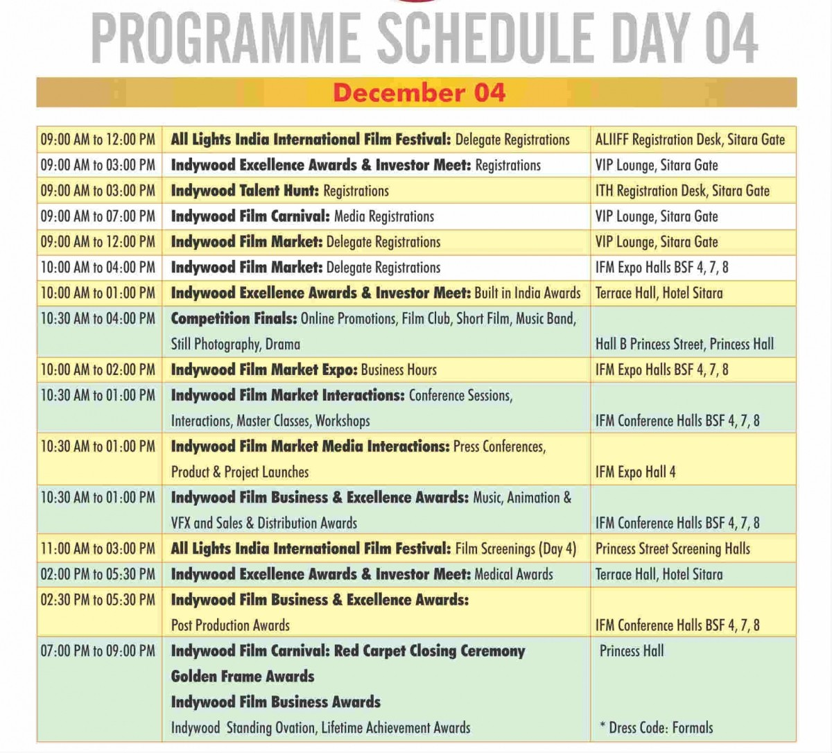 3rd Edition Indywood film carnival's programme schedule Day 4