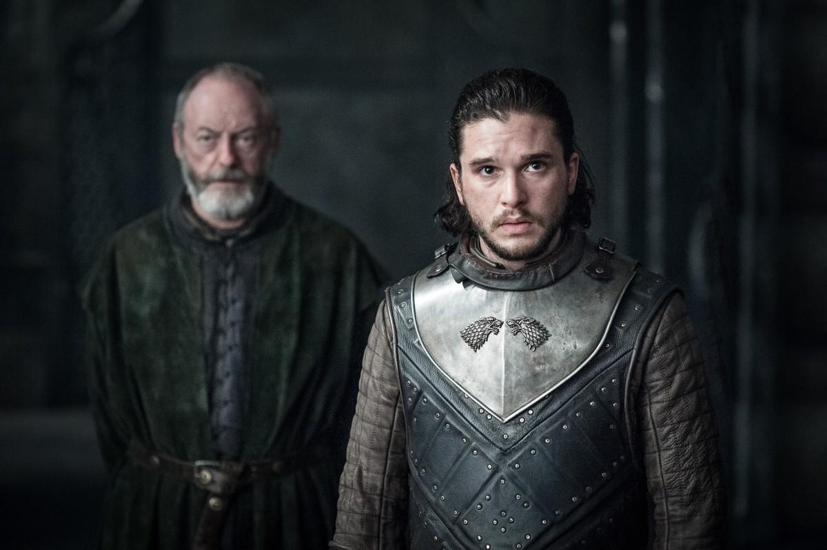 Kit Harington as Jon Snow with Liam Cunningham as Davos Seaworth