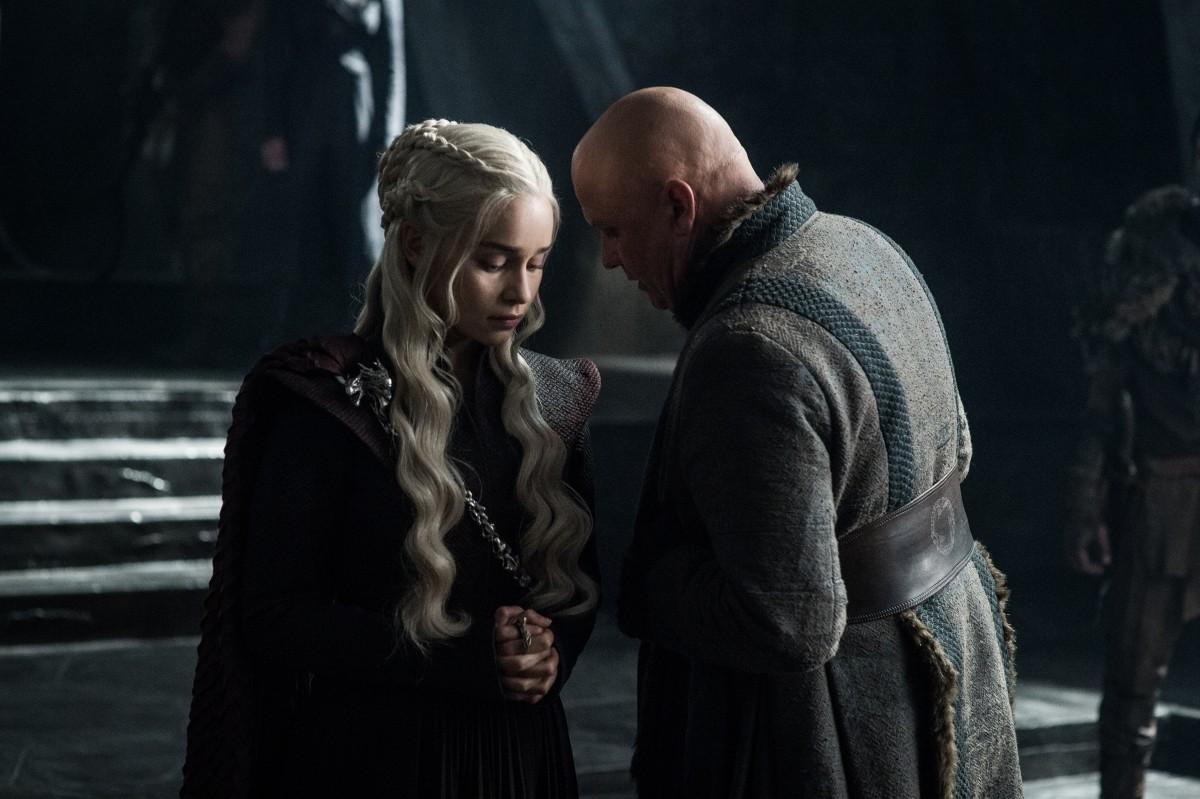 Emilia Clarke as Daenerys Targaryen with Conleth Hill as Lord Varys