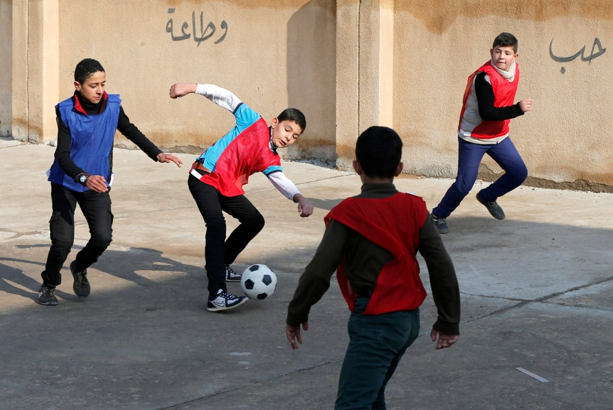 Football after ISIS extremists are defeated in Iraq