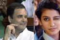 Check out Priya Prakash Varrier's reaction on Rahul Gandhi's wink in Parliament [Video]