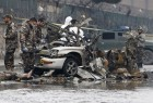A suicide bomber in a car blew himself up close to a police checkpoint near Kabul airport on Monday but caused no other casualties, a police spokesman said.