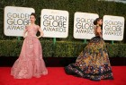 Actresses Lily Collins (L) and Olivia Culpo arrive at the 74th Annual Golden Globe Awards