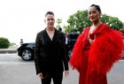 Designer Jeremy Scott and Tracee Ellis Ross arrive at the amfAR Gala Cannes 2017 at Hotel du Cap-Eden-Roc on May 25, 2017 in Cap d'Antibes, France.