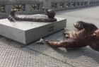 Photos on Sunday posted on social media showed the sculpture lying on its side on the pavement, having been chopped off at its ankles, reports Xinhua news agency. Police said they had no information about the identity of the perpetrators.