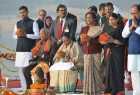 On the second day of his visit to Uttar Pradesh, President Ram Nath Kovind offered prayers at the Sangam in Allahabad on Saturday and later visited the fabled 'lete hue Hanuman' temple. He was accompanied by his wife Savita Kovind, Governor Ram Naik, Chief Minister Yogi Adityanath and many senior ministers.