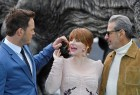 """Cast members (L to R) Chris Pratt, Bryce Dallas Howard, and Jeff Goldblum pose in front of a model dinosaur during a photocall to promote the forthcoming film 'Jurassic World: Fallen Kingdom' in London, Britain, May 24, 2018. Universal Pictures India's """"Jurassic World: Fallen Kingdom"""", which was scheduled to release on June 8 in India, will now open a day before. The film is all set to now release in India on June 7. The second instalment of the """"Jurassic World"""" series will open on Thursday in more than 2300 screens, two weeks before its US release date. """"Jurassic World: Fallen Kingdom"""" will release in English, Hindi, Tamil and Telugu. In the film, directed by J.A. Bayona, stars Chris Pratt and Bryce Dallas Howard will reprise their roles from """"Jurassic World"""" as Owen and Claire, respectively. Actor Jeff Goldblum will returns as Dr. Ian Malcolm."""