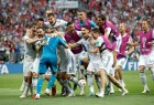 Hosts Russia stunned pre-tournament favourites Spain 4-3 (1-1) via penalty shootouts here on Sunday to enter the quarter-finals of the FIFA World Cup 2018. Russia's Sergei Ignashevich's own goal in the 12th minute opened Spain's account before Artem Dzyuba struck in the 41st minute to equalise. In the penalty shootout, Koke and Iago Aspas missed their attempts for Spain while the Russians converted their first four spot kicks. This is the best performance by Russia since the breakup of the Soviet Union. The best performance by the Soviet Union was a fourth place finish in 1966 when they lost 1-2 to the then West Germany in the semi-finals. Goalkeeper Igor Akinfeev emerged as the hero for Russia as he saved two penalties. His job was made easier by poor placement by Koke and Aspas.
