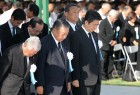 Japan's Prime Minister Shinzo Abe offer prayers for the atomic bomb victims