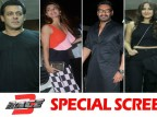 Bollywood movie Race 3 witness a bucket full of stars at the special screening which held last night in Mumbai. The makers held a screening of Race 3 for close friends and family members in the city. From Left to right Salman Khan, Jacqueline Fernandez, Ajay Devgn, Sonakshi Sinha and Tabu graced the event. Check out the above slideshow to see the photos of celebs like Amit Sadh, Anil Kapoor, Arpita Khan, Alvira Khan Agnihotri, Atul Agnihotri, Bobby Deol, Daisy Shah, Huma Qureshi, Iulia Vantur, Kartik Aaryan, Mouni Roy, Pooja Hegde, Saqib Saleem, Shreyas Talpade, Varun Dhawan, Sonia Kapoor, Himesh Reshammiya, Suniel Shetty, Athiya Shetty, Urvashi Rautela, Warina Hussain, Aayush Sharma and others who were also seen at the special screening.