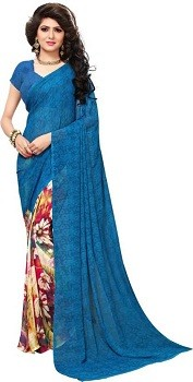Printed Leheria Georgette Saree
