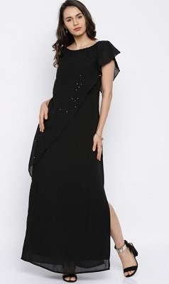 Black Solid Sequinned Maxi Dress