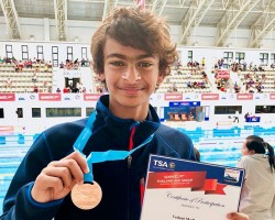 "Actor R. Madhavan's 12-year-old son won a bronze medal for India in the 1500 meter freestyle at the Thailand Age Group Swimming Championship 2018. Madhavan announced the news on Instagram on Monday. ""Proud moment for Sarita (his wife) and I, as Vedaant wins his first medal for India in an international swim meet in Thailand today. Thank you for all your blessings,"" he posted along with a photograph of his son holding the medal and certificate with the backdrop of a stadium."