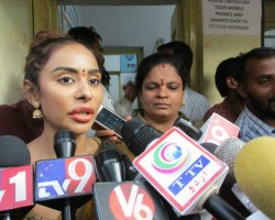 Telugu actress Sri Reddy submits a complaint to the Himayunager police station in Hyderabad on April 14, 2018. Sri Reddy's semi-nude protest against the alleged sexual exploitation of women in the film industry by influential members outside the Movie Artistes Association (MAA), an apex body of the Telugu film industry.