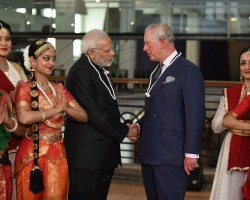 """Indian Prime Minister Narendra Modi welcomed Prince Charles at """"Illuminating India: 5,000 Years of Science and Innovation"""" at the Science Museum here, External Affairs Ministry spokesperson Raveesh Kumar tweeted. The two took a tour of the exhibition which, according to the Science Museum website, showcases """"the remarkable history of Indian innovation and discovery, which has been influencing and changing people's lives for 5,000 years"""". Modi then paid floral tributes at the bust of 12th century Lingayat philosopher Basaveshwara."""