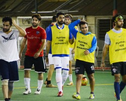 Bollywood actor and industrialist Sachiin Joshi spotted playing soccer at ASFC (All Stars Football Club) in Bandra, Mumbai on April 19, 2018. Sachiin was seen enjoying a soccer match with actor Abhishek Bachchan and other celebs on the field.