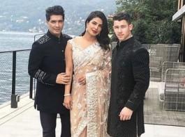 Priyanka Chopra and fiance Nick Jonas with Manish Malhotra