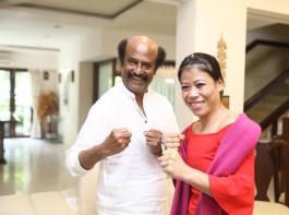Mary Kom strikes boxing pose with 2.0 star Rajinikanth