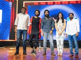 Yash posing with Vijay Devarakonda's Dear Comrade Team
