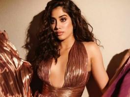 Jhanvi Kapoor Wears Stunning Metallic Pleated Gown