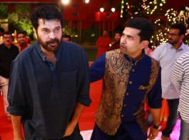 Mammootty and Ramesh Kalyanaraman Executive Director Kalyan Jewellers during the celebration of Navratri at the Kalyan Jeweller family.