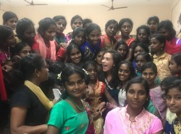 Actress Amy Jackson celebrates Diwali with Kids at Orphanage in Chennai.