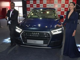 Audi India head Rahil Ansari and actress Gauhar Khan with the newly launched Audi Q5 car in New Delhi on Jan 18, 2018.
