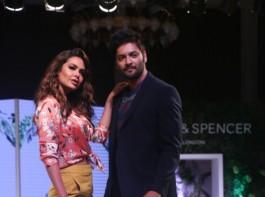 Actress Esha Gupta and Ali Fazal walk the ramp for fashion brand Marks & Spencer Spring Summer launch 2018 in Mumbai on Feb 8, 2018.