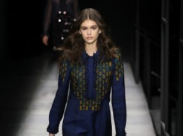 Kaia Gerber walks the runway at Bottega Veneta Fall/Winter 2018.