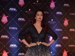 Aishwarya Rai Bachchan poses for a photo on her arrival at the Nykaa Femina Beauty Awards 2018, held at JW Marriott Hotel in Mumbai.