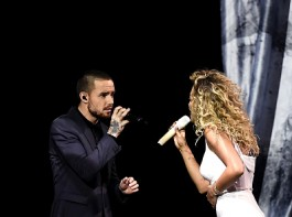 Rita Ora and Liam Payne perform at The BRIT Awards 2018.