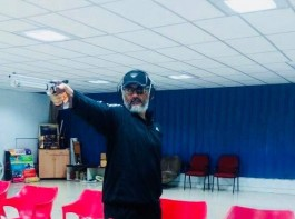 Thala Ajith practices pistol shooting for his upcoming movie Viswasam.