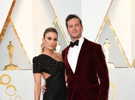 Elizabeth Chambers and Actor Armie Hammer arrive for the 90th Annual Academy Awards on March 4, 2018, in Hollywood, California.