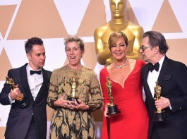 (L-R) Actors Sam Rockwell, Frances McDormand, Allison Janney, and Gary Oldman, pose in the press room with their Oscars for best supporting actor, best actress, best supporting actress, and best actor, during the 90th Annual Academy Awards on March 4, 2018, in Hollywood, California.