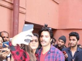 Varun Dhawan and Banita Sandhu promote their upcoming October movie at Sophia College in Mumbai.