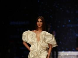 Actress Vaani Kapoor walks the ramp in fashion designers Ashish N Soni and Gauri and Nainika's creation at Amazon India Fashion Week in New Delhi, on March 14, 2018.