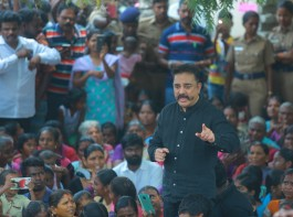 South Indian actor Kamal Haasan joins anti-Sterlite protesters in Thoothukudi.