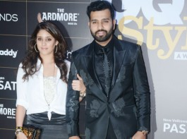Rohit Sharma and his wife Ritika Sajdeh pose together as they arrive at the GQ Style Awards 2018 held at Taj Lands End in Bandra, Mumbai.