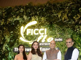 Actress Aditi Rao Hydari was on Friday feted with the Young Ficci Ladies Organisation (YFLO) Young Women Achievers Award 2017-18. The event was attended by Home Minister Rajnath Singh.