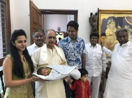 Nandamuri family in bliss mode. Actor Balakrishna's grandson with mother Tejaswini and father Sri Bharat along with grandfathers.