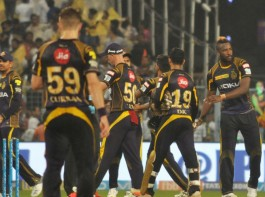 Kolkata Knight Riders rode on Nitish Rana and Andre Russell's heroics to snap a two-game losing streak and register a 71-run victory over Delhi Daredevils in a lopsided Indian Premier League (IPL) clash at the Eden Gardens here on Monday. Put in by their celebrated former captain Gautam Gambhir, KKR piled up 200/9 as in-form Rana smashed a 35-ball 59 with Russell clobbering a 12-ball 44, that included six sixes off Mohammed Shami. In reply, Glenn Maxwell's 22-ball 47 and Rishabh Pant's 26-ball 43 went in vain, as Delhi were bundled out for 129 with mystery spinner Sunil Narine (3/18) and chinaman Kuldeep Yadav (3/32) plotting most of the damage.