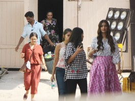 Veere Di Wedding starring Kareena Kapoor, Sonam Kapoor, Swara Bhasker and Shikha Talsania in the lead role, has been the talk of the town since the announcement. Today, Actress Sonam Kapoor spotted at the famous Mehboob Studios, shooting for her upcoming film Veere Di Wedding. The film is presented by Ekta's home banner Balaji Motion Pictures. The film is a romantic comedy is co-produced by Sonam's sister Rhea Kapoor, Ekta and Nikhil Dwivedi.