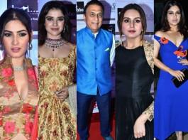 Beti Flo GR8 Awards 2018 held at JW Marriott Hotel in Mumbai on April 16, 2018. From Left to right Karishma Sharma, Pia Bajpai, Sunil Gavaskar, Huma Qureshi, Bhumi Pednekar graced the event. Check out the above slideshow to see the photos of celebs like Amit Sadh, Amruta Fadnavis, Jeetendra, Rashami Desai, Bhagyashree, Shabana Azmi, Roop Kumar Rathod, Tina Datta and others who were also seen in super stylish avatars.