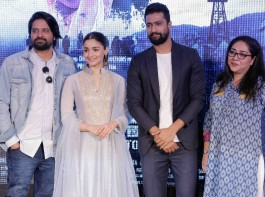 Bollywood actress Alia Bhatt and co-star Vicky Kaushal along with director Meghna Gulzar came together to launch the first song 'Ae Watan' from their forthcoming film Raazi on Wednesday, produced by Vineet Jain, Karan Johar, Hiroo Yash Johar and Apoorva Mehta under Junglee Pictures and Dharma Productions banner. The song, composed by Shankar-Ehsaan-Loy and sung by Arijit Singh. The film is set to hit the screens on May 11, 2018 and the stars are promoting it in a full swing.