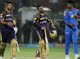 Kolkata Knight Riders (KKR) stretched their winning run to two games by registering a facile seven-wicket victory over Rajasthan Royals in an Indian Premier League (IPL) clash at the Sawai Mansingh Stadium here on Wednesday. After restricting RR to 160/8, the two-time champions, who also won against Delhi Daredevils by 71 runs in their last game, rode on Robin Uthappa's 36-ball 48 (6x4, 2x6) to set up the chase and eventually win with seven balls to spare posting 163/3 in 18.5 overs. Skipper Dinesh Karthik (42 not out; 2x4, 2x6) and Nitish Rana (35 not out; 2x4, 1x6) combined for an unbroken 61-run partnership for the fourth wicket to ease past the line. Karthik hit a six off Ben Laughlin to secure the win in style.